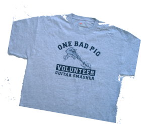 "ONE BAD PIG ""VOLUNTEER GUITAR SMASHER"" Grey *T-SHIRT"