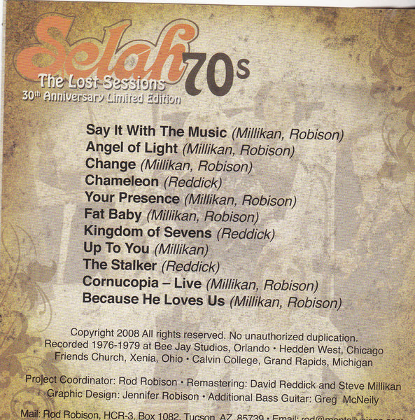 SELAH 70's- THE LOST SESSIONS (*CD, 2008, Private Press) Xian Psych