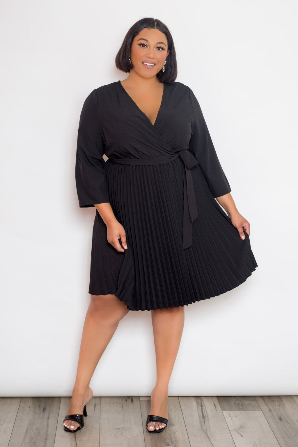 Black Surplice Pleated Mini Dress