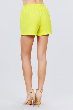 Front Tie Elastic Band Shorts