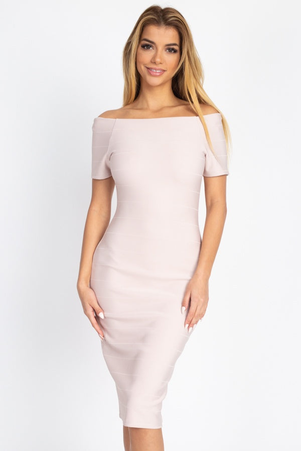 Solid Off Shoulder Bandage Dress
