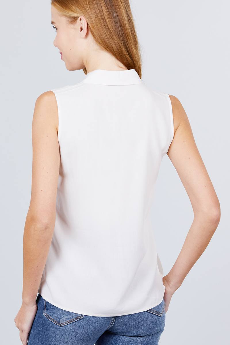 Sleeveless Front Flap Pocket Shirt