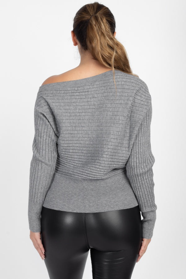 One-Shoulder Ribbed Sweater