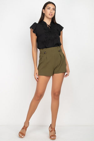 Button Tab High Rise Paper Bag Shorts