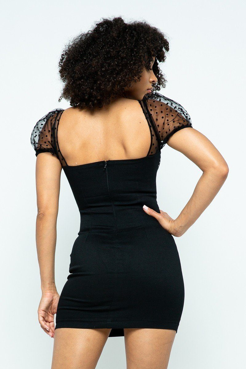Mesh Detail Center Back Mini Dress