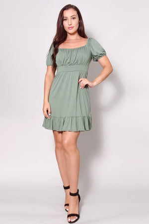 Puff Short Sleeve Tie Back Mini Dress