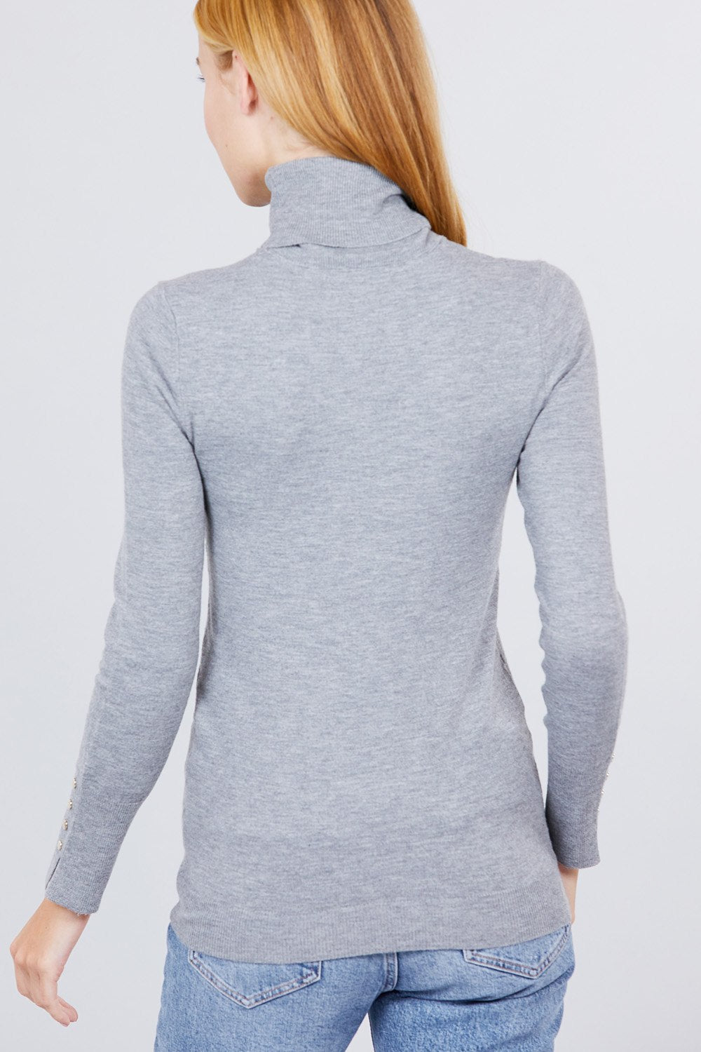 Turtleneck Metal Button Detail Sweater