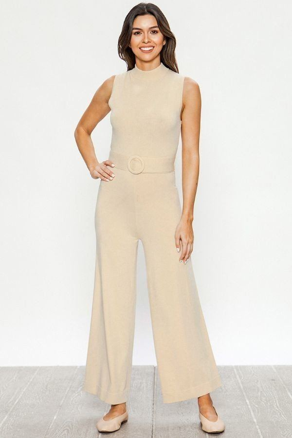 Solid Palazzo Sweater Jumpsuit