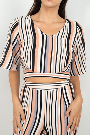 Striped Scoop Neck Top Wide Leg Pants Set