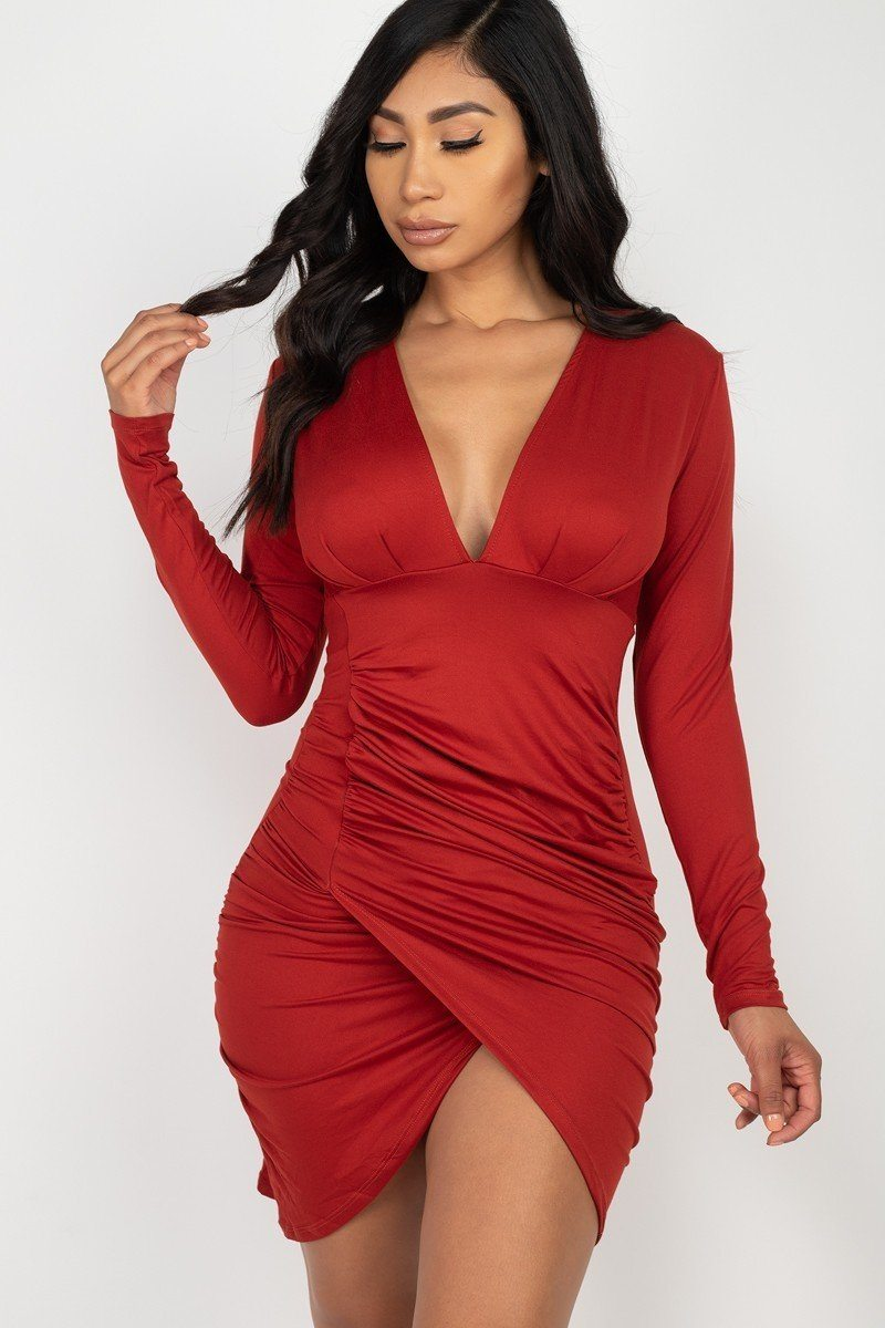 Ruched Wrap Bodycon Mini Dress