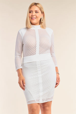 Sheer Chevron Print Bodycon Mini Dress