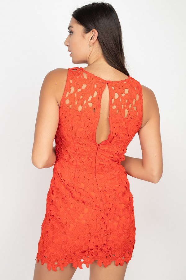 Floral Lace Bodycon Mini Dress
