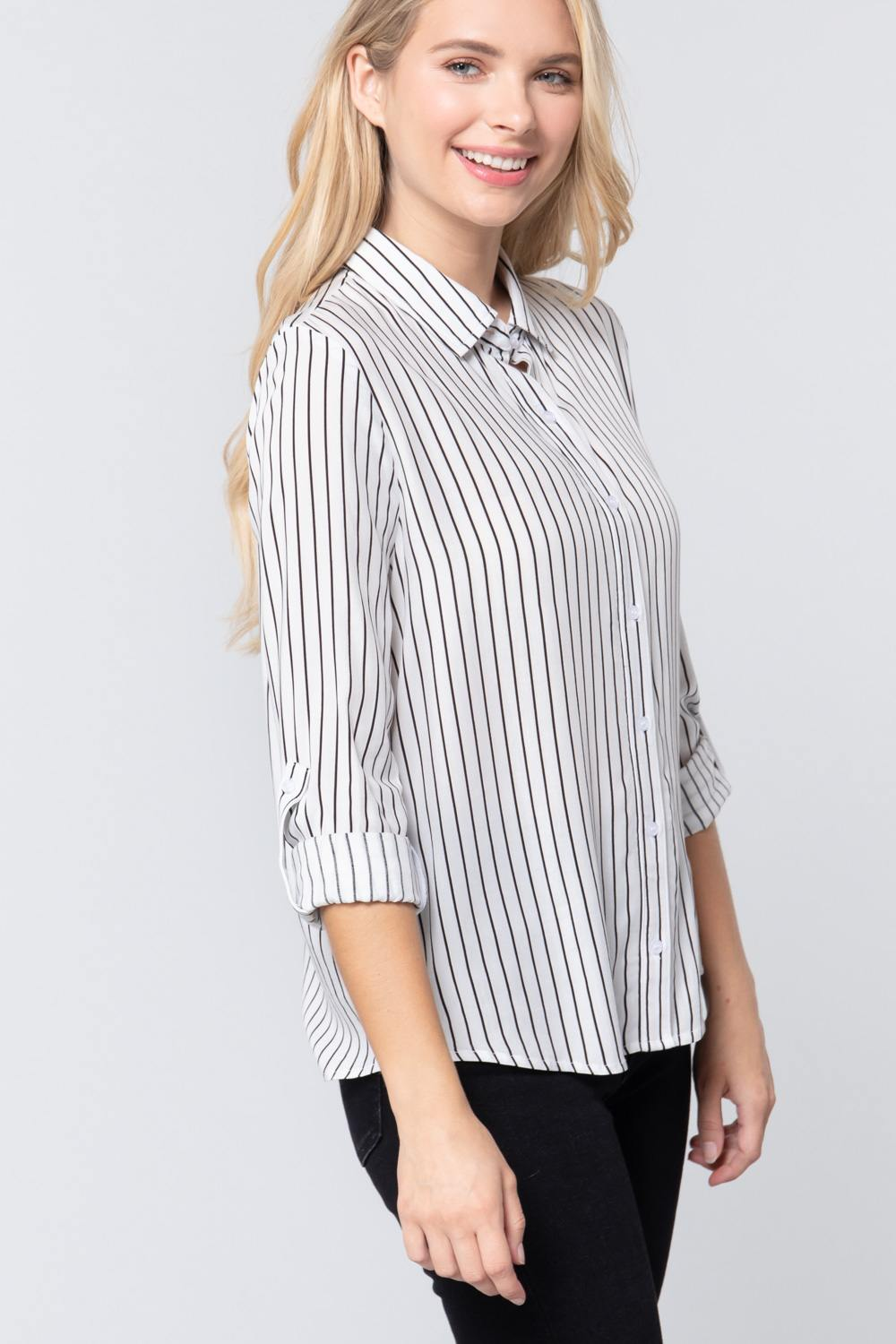 3/4 Roll Up Sleeve Stripe Print Shirt