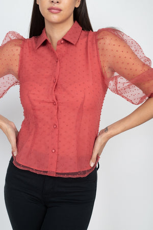 Contrast Dot Print Top