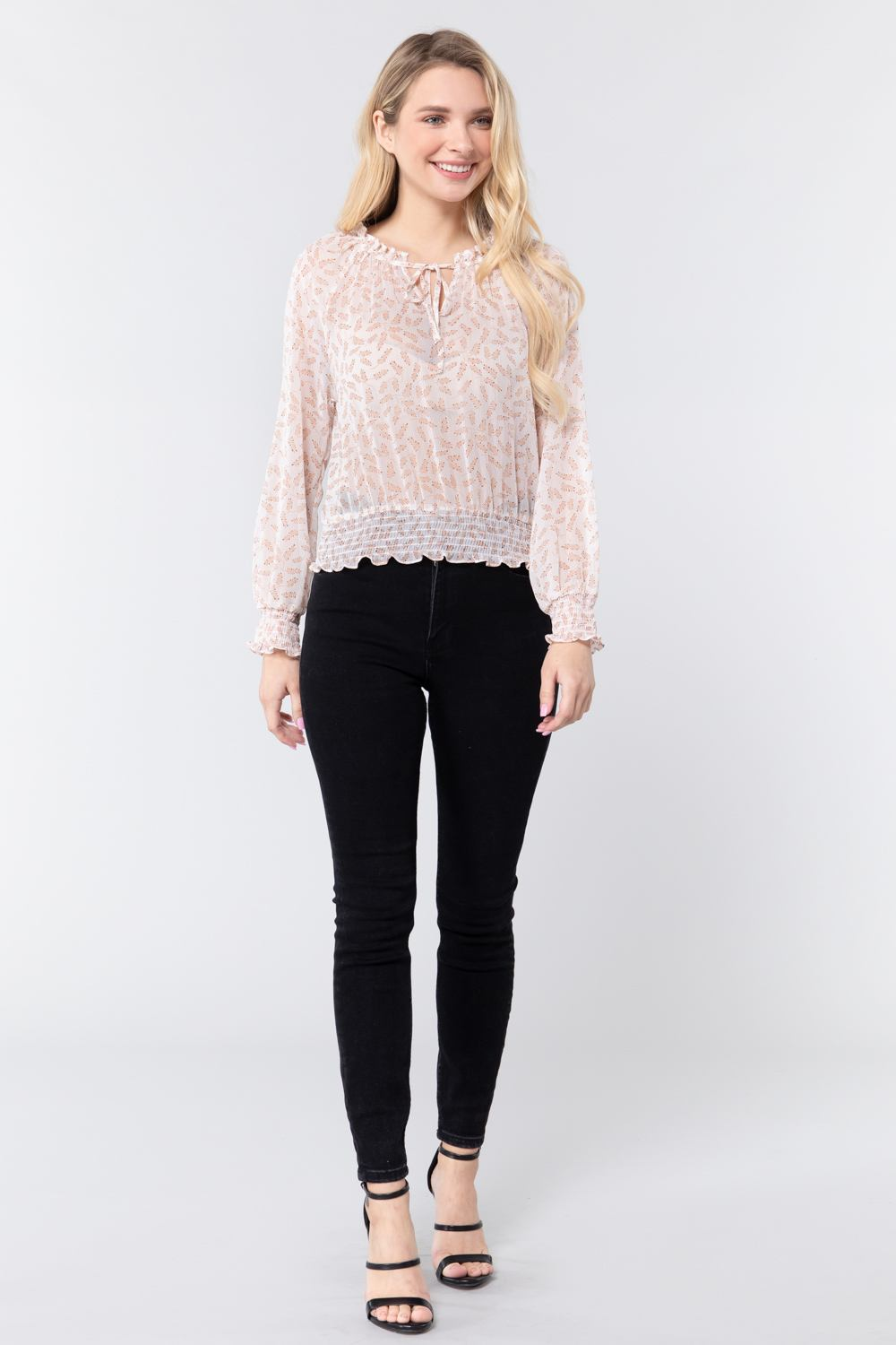 Long Sleeve Print Woven Top With Tie