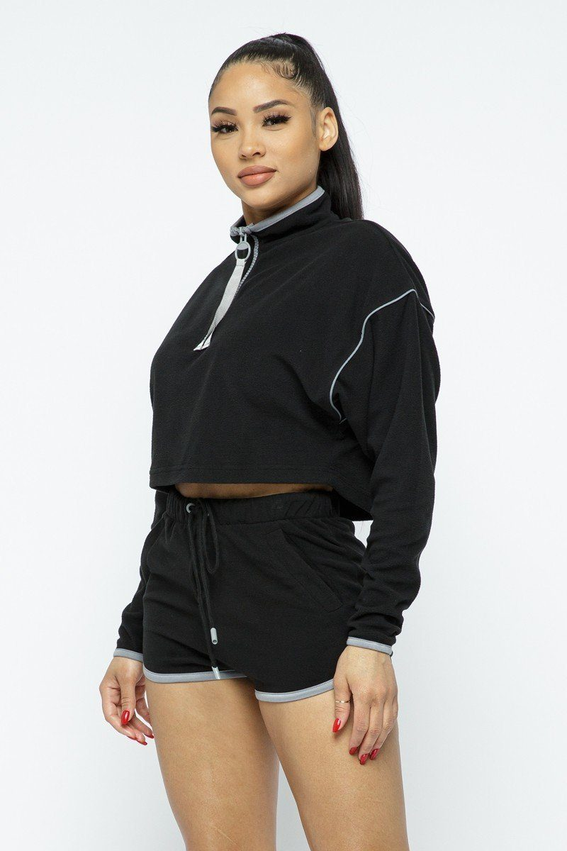 Sporty Crop Top and High-waist Shorts Set