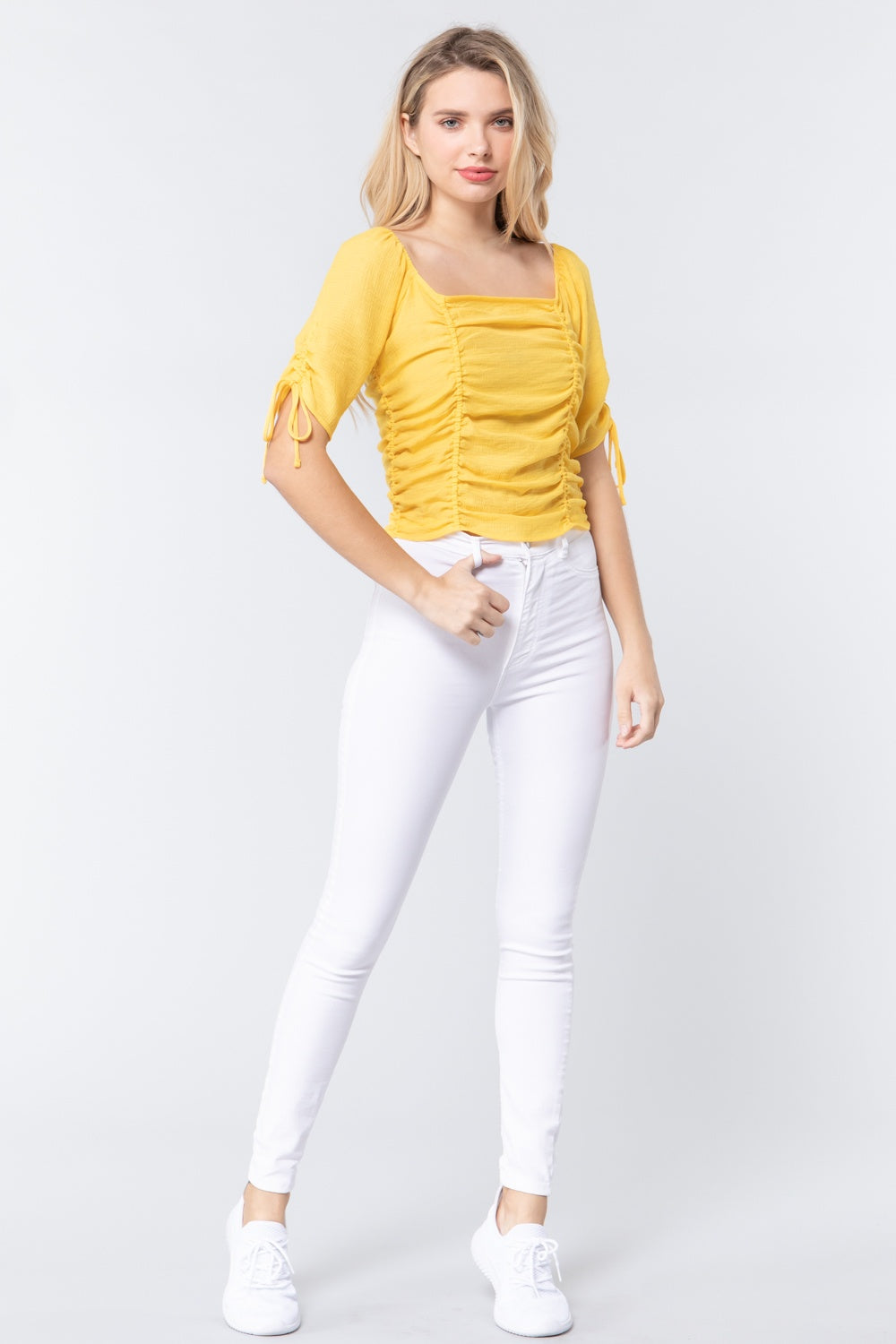 Elbow Sleeve Smocked Ruched Woven Top