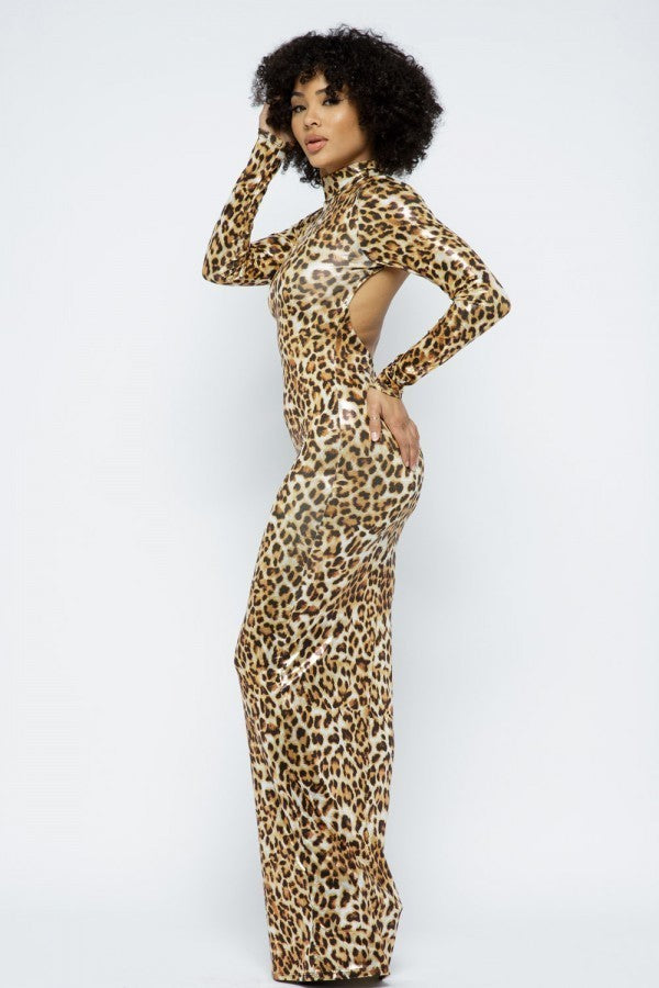 Animal Foil Bodycon Maxi Dress