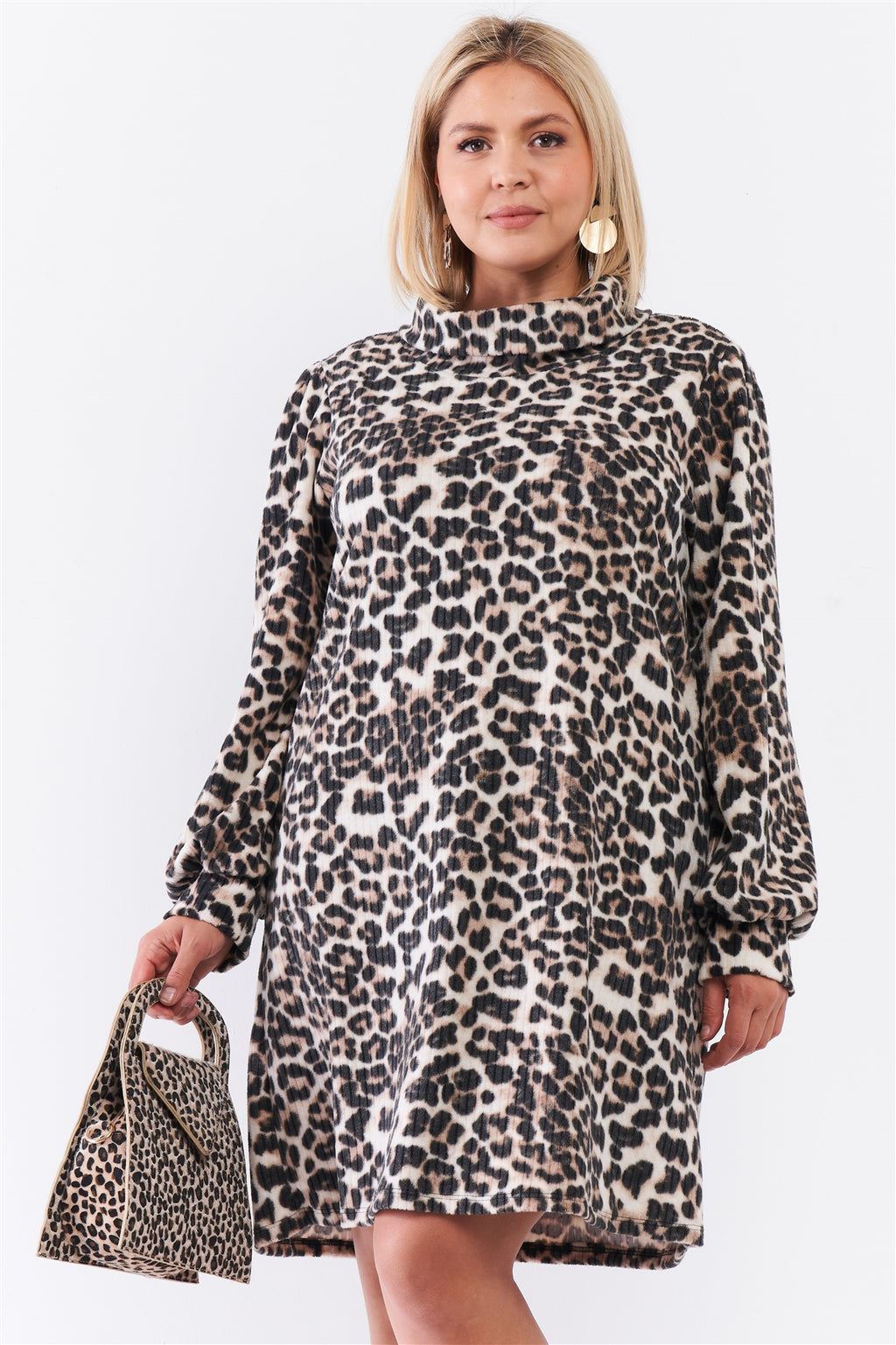 Leopard Print Ribbed Cowl Neck Mini Dress