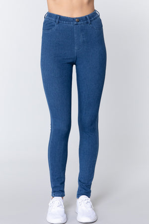 Tack Button Knit Denim Jeggings