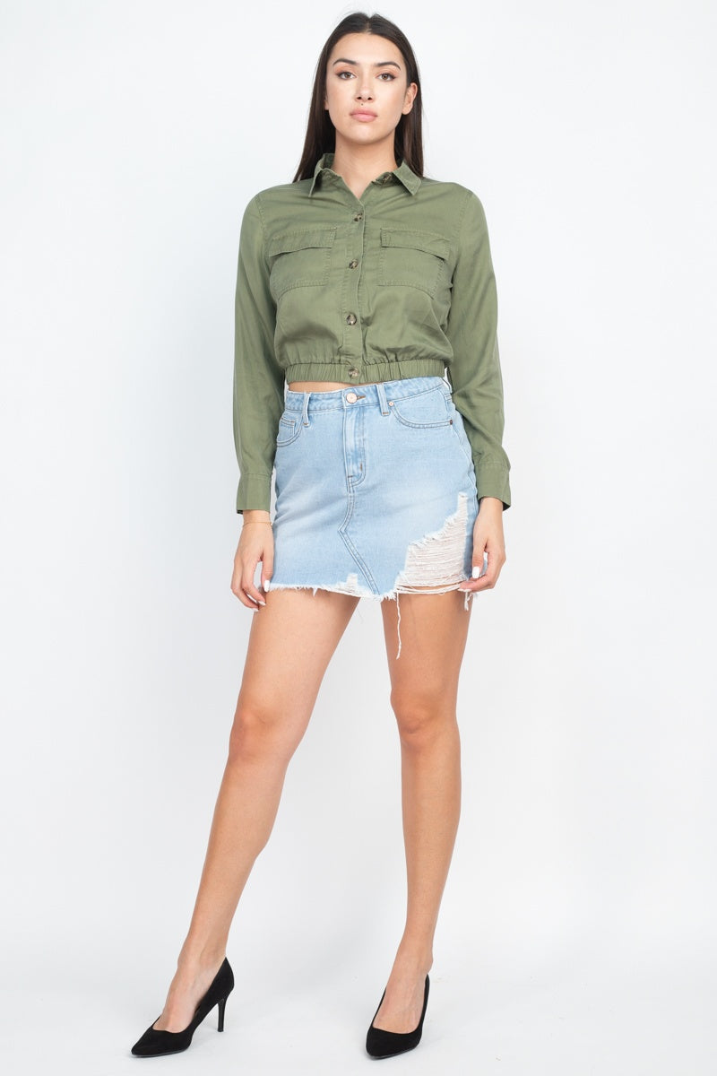 Elasticized Waist Flap Pockets Top