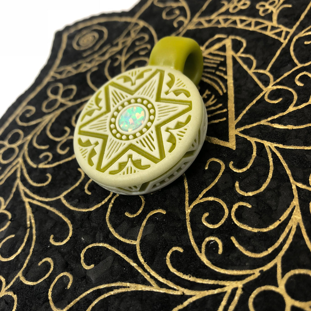 Chartreuse Fully carved pendant by @glassmaze