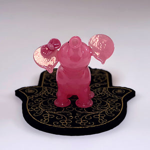 Shifty Peach Cheese Micro Elephant by Flame Princess Glass