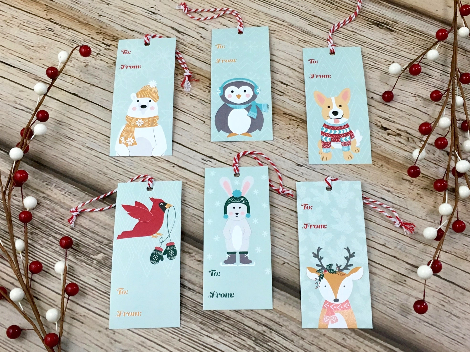 assorted set of six holiday gift tags