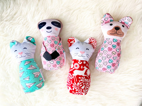 custom valentine plush; choose from dog, bunny, cat, or sloth and 3 fabrics