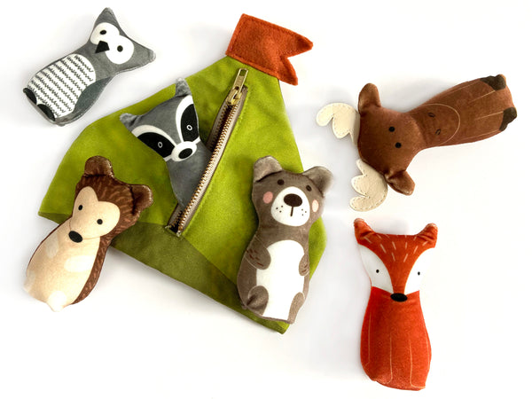 bundle: owl, moose, and fox plushes with tent play set