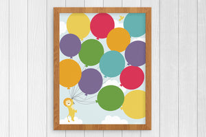 lion and balloons 8 x 10 print
