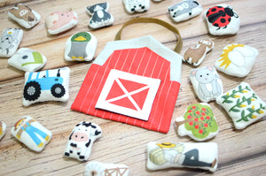mini farm plushes and barn play set