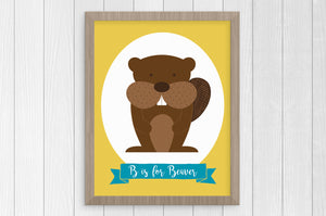 B is for Beaver 8 x 10 Print