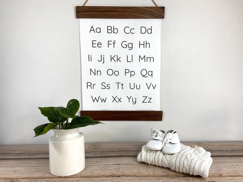 black and white alphabet wall hanging