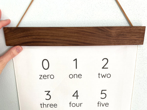 black and white number wall hanging