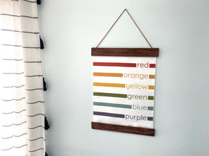 rainbow color chart wall hanging