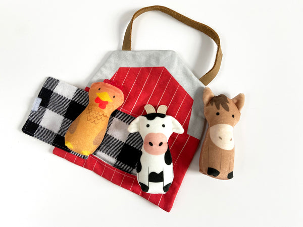 cow, horse, and rooster plush set