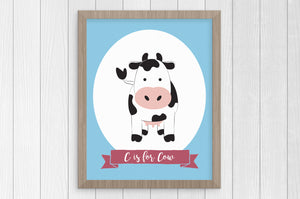 c is for cow 8x10 print