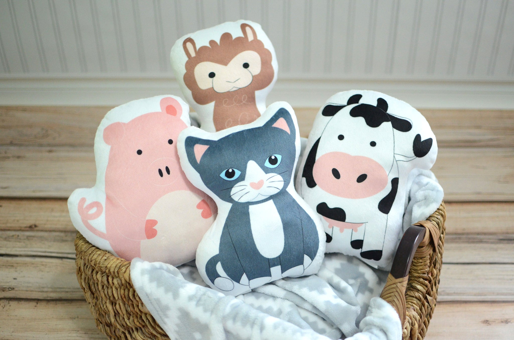 Farm Set of Four Pillows, You Choose Styles