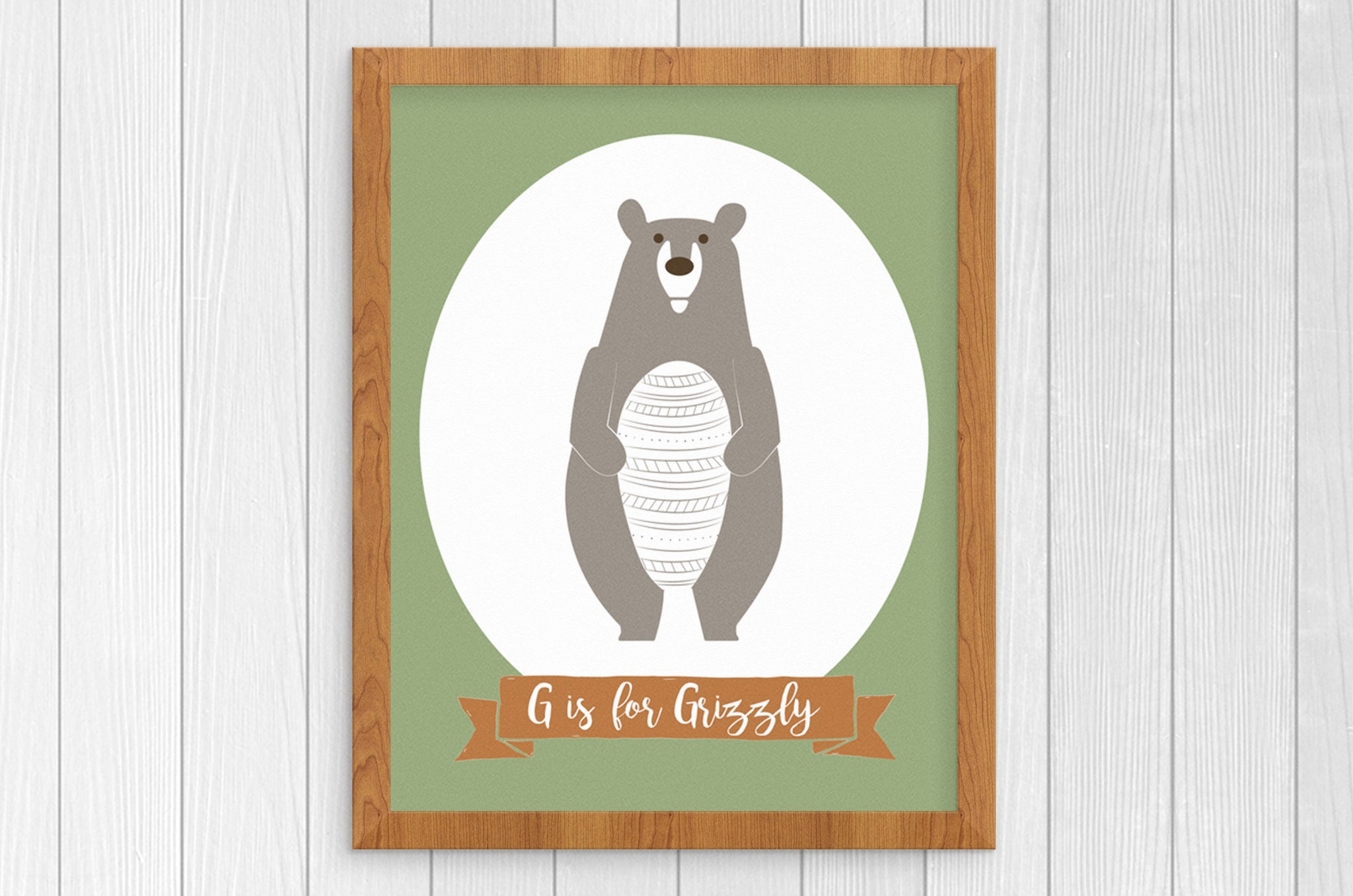G is for Grizzly Bear 8 x 10 Print