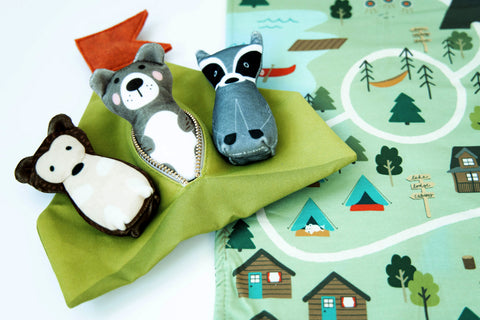 bundle: hedgehog, bear, and raccoon plushes with tent and play mat set