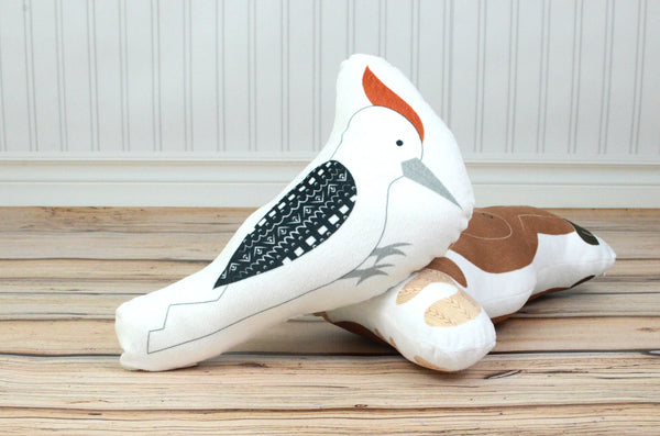 woodpecker plush animal pillow
