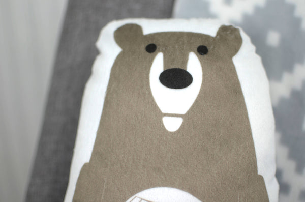 grizzly bear plush animal pillow
