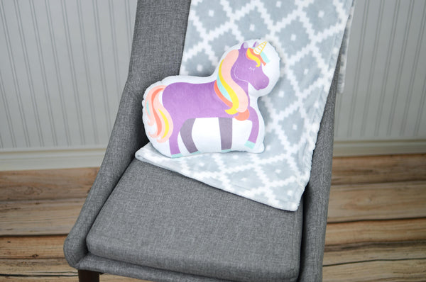 purple unicorn plush pillow