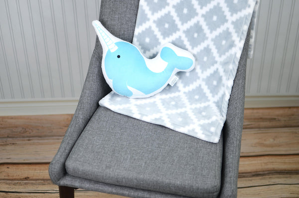 narwhal plush animal pillow