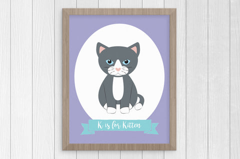 K is for Kitten 8 x 10 Print