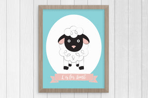 L is for Lamb 8 x 10 Print