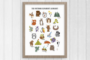 outdoor explorer alphabet 12 x 16 print