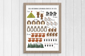 outdoor explorer counting 12 x 16 print