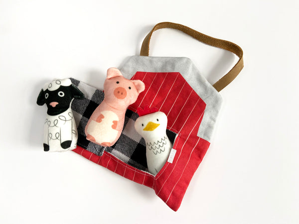 bundle: lamb, pig, and chicken plushes with barn play set